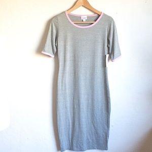LuLaRoe Julia Dress Gray with Pink Piping S
